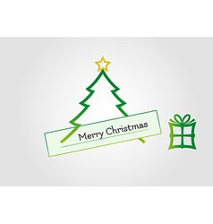 Christmas card with tree star and gift vector image vector image