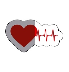 Color sticker with heart and line of vital sign vector