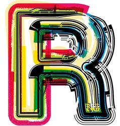 Colorful Grunge font LETTER R vector image vector image
