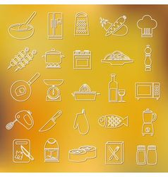 Cooking outline icons vector