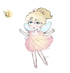 Cute fairy dancing girl little ballerina vector