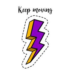 fashion patch element lightning bolt vector image vector image