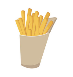 Fast food french fries tasty paper box vector