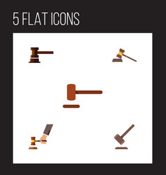 Flat icon lawyer set of tribunal defense vector