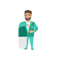 Flat young male doctor leaning at huge pill vector