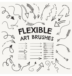 Flexible arrow shaped art brushes vector
