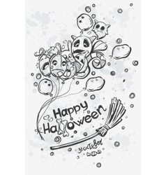 Ghost with balls on broomstick - Halloween doodles vector image vector image