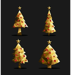 Gold christmas tree set polygon triangle low poly vector