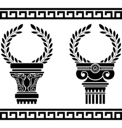 greek columns with wreaths stencil vector image vector image