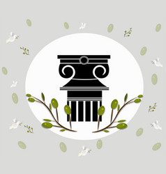 Greek ionic columns order vintage design with vector