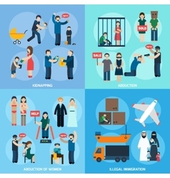 Human trafficking 4 flat icons square vector