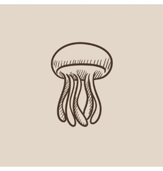 Jellyfish sketch icon vector image vector image