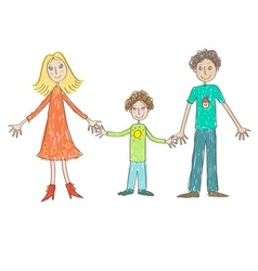 Kids Drawing Family vector image vector image