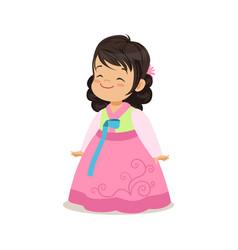 little girl wearing pink dress national costume vector image vector image