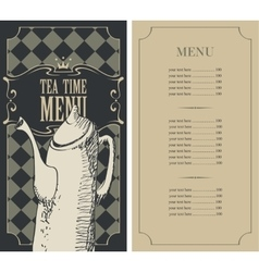 menu for a tea time vector image vector image