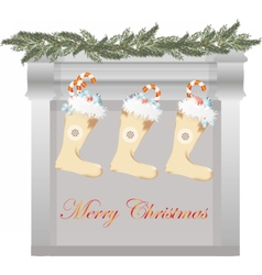Merry christmas fireplace vector