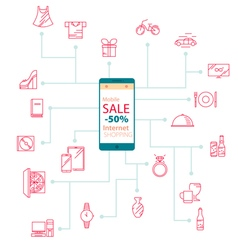 Modern internet mobile shopping vector