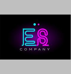 Neon lights alphabet es e s letter logo icon vector