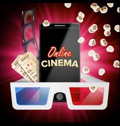 online cinema banner realistic smart phone vector image