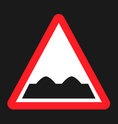 Rough road sign flat icon vector