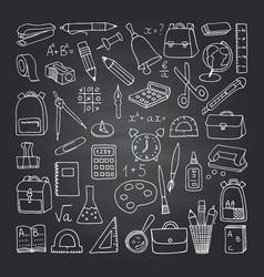 school icons on blackboard vector image