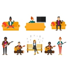 Set of musicians and people gaming vector