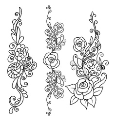 set Rose flowers with decorative elements vector image