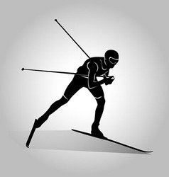 silhouette of cross-country skiing vector image vector image