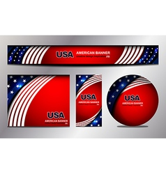USA Flag Banner Design vector image