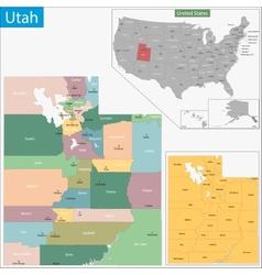 Utah map vector image vector image