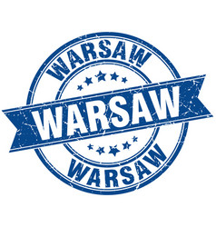 Warsaw blue round grunge vintage ribbon stamp vector