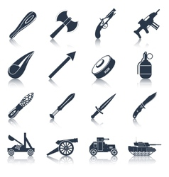 Weapon icons black set vector