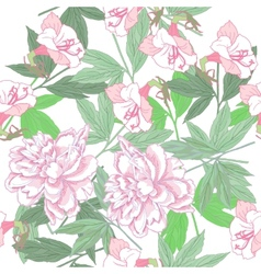 White seamless pattern with pink peonies and vector