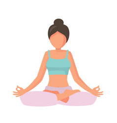 Woman in lotus pose vector