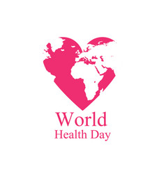 World health day continents and heart festive vector