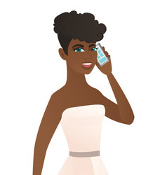 Young african fiancee talking on a mobile phone vector