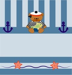 0215 1 card with a bear anchor and fish v vector