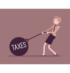 Businesswoman dragging a weight taxes on chain vector
