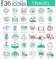 Travel color flat line outline icons for vector