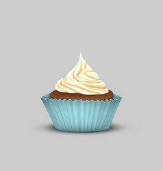 Delicious cupcake with cream in the turquoise cup vector