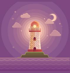 Lighthouse on the coast of sea vector