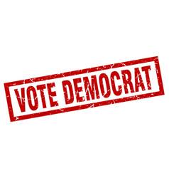 Square grunge red vote democrat stamp vector