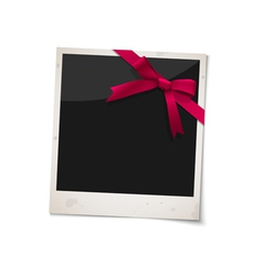 Polaroid photo frame with bow red ribbon vector