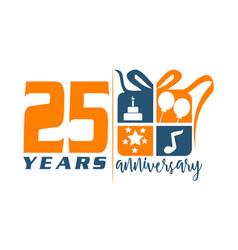 25 year gift box ribbon anniversary vector