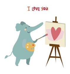 Elephant artist character vector