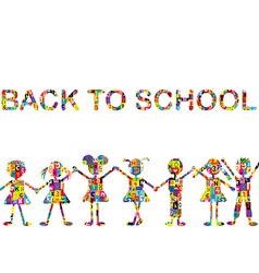 Back to school background with stylized patterned vector