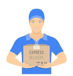 Delivery boy holds a parcel in cardboard box vector