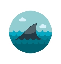 Shark fin flat icon vector