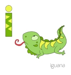 Alphabet letter i iguana children vector