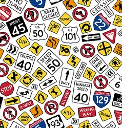 Seamless pattern of cartoon american road signs vector
